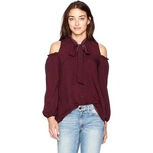 FRENCH CONNECTION Crepe Cold Shoulder Bow Blouse